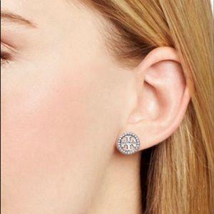 Tory Burch Crystal Circle-Stud Logo Earrings